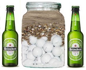 Jar , Golf Balls and Beer