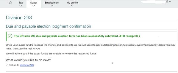 Div 293 ATO confirmation